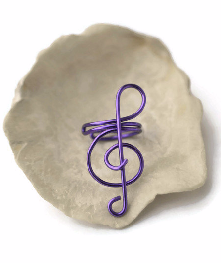 Purple Treble Clef Ear Cuff, No Piercing Cartilage Earrings