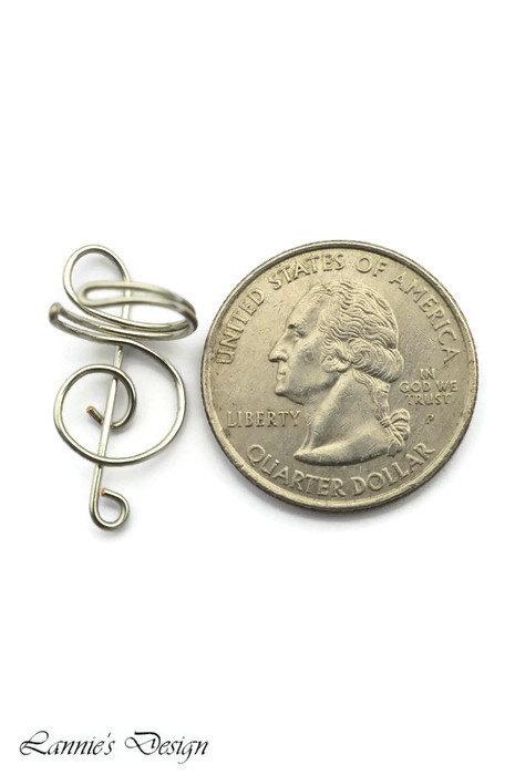 Silver Treble Clef Ear Cuff, No Piercing Cartilage Earrings