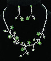 Flower Green Crystal Rhinestone Necklace Earrings Set - $26.99