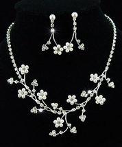 Flower Faux Pearl Crystal Necklace Earrings Set  - $29.99
