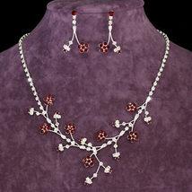 Flower Red Crystal Rhinestone Necklace Earrings Set - $29.99