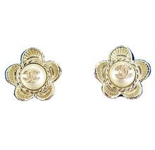Authentic Chanel Gold Camellia Flower CC Pearl Enamel Petal Earrings
