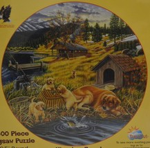 "Sunsout ~ OOPS!! ~ 500 Piece 19.5"" Round Puzzle ~ New Sealed ~ Dogs cabin - $29.95"