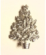 Christmas Tree Silver Rhinestones  Brooch Pin H... - $12.25
