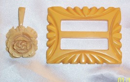 "BEAUTIFULLY DETAILED CARVED BAKELITE ROSE NECKLACE PENDANT 2"" & BUCKLE 2... - $19.79"