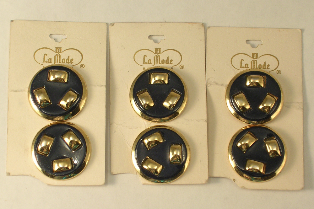 Primary image for Vintage La Mode Metal Shank Buttons Navy Blue and Gold Color Quantity of 6