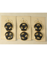 Vintage La Mode Metal Shank Buttons Navy Blue and Gold Color Quantity of 6 - $12.00