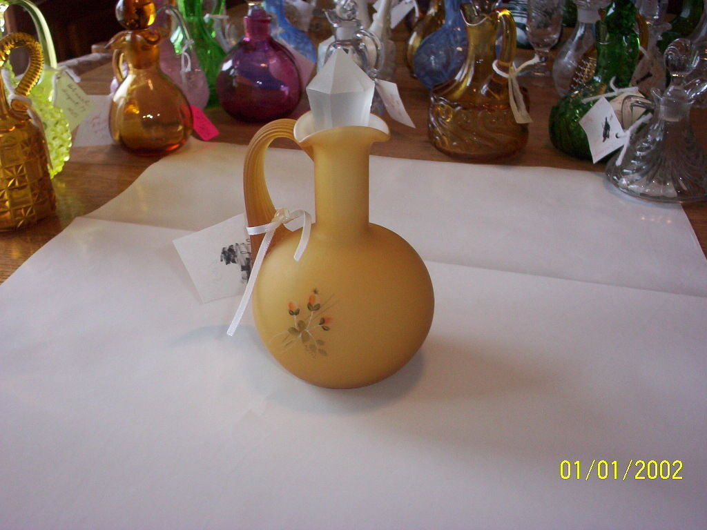 Primary image for Fenton for L G Wright Amber Satin Cased Glass Hand Painted Cruet