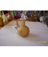 Fenton for L G Wright Amber Satin Cased Glass Hand Painted Cruet - $69.30