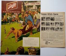 Schlitz 1951 Ad - Art by Austin Briggs; Also Mobilgas & Welch's Grape Ju... - $12.00