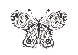 Akimova: BUTTERFLY, garden, insect, black, white, ink, pen, ACEO - $5.50