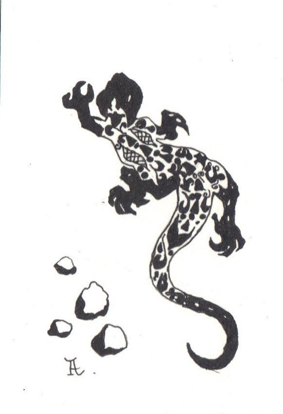 Akimova: LIZARD, garden, animal, black and white, ink, pen, ACEO