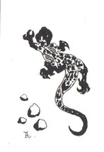 Akimova: LIZARD, garden, animal, black and white, ink, pen, ACEO - $5.50