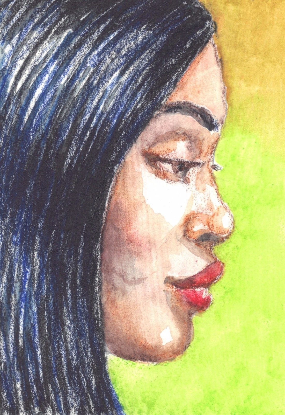 Akimova: GIRL, portrait, face, watercolor, ACEO