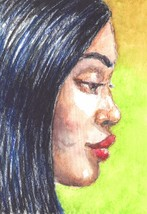 Akimova: GIRL, portrait, face, watercolor, ACEO - $5.50