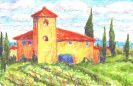Akimova:ITALIAN FARM, garden, landscape, watercolor, ACEO - $5.50