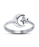 Adjustable Women's 14k White Platinum Finish Sterling Silver Moon Star Ring - £11.90 GBP