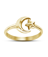 18k Yellow Gold Finished Engagement Moon Star Adjustable Ring In Sterlin... - £11.90 GBP