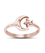 14k Rose Gold Over Sterling Silver Wedding Engagement Moon Star Adjustab... - £11.90 GBP
