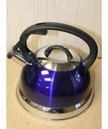 NEW KITCHENWORKS 2.5 QUART WHISTLING TEA KETTLE POT NAVY BLUE COLOR W RING - $18.37