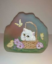 Fenton Glass Spring Kitten Cat Easter Chick Paperweight F Burton NFGS Ex... - $222.62