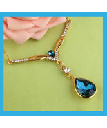 """14k Yellow Gold Blue and White Austrian Crystals 18"""" Pendant Necklace - $39.99"""
