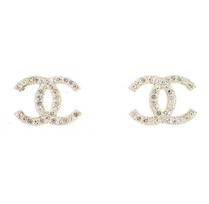 Authentic Chanel Large Classic CC Crystals Pave Earrings Light Gold NEW