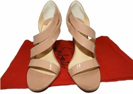 Christian Louboutin World Copine Asymmetrical Sandals Nude Beige Pumps Shoes 39 - $429.99