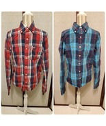 2 Hollister (Red & Blue Plaid) Long Sleeve Button Down Shirts Men's Size... - $30.00