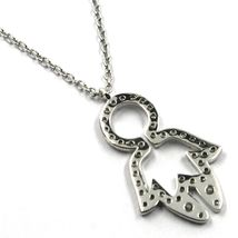 18K WHITE GOLD NECKLACE, BABY CHILD BOY SON PENDANT WITH DIAMONDS ROLO CHAIN image 4