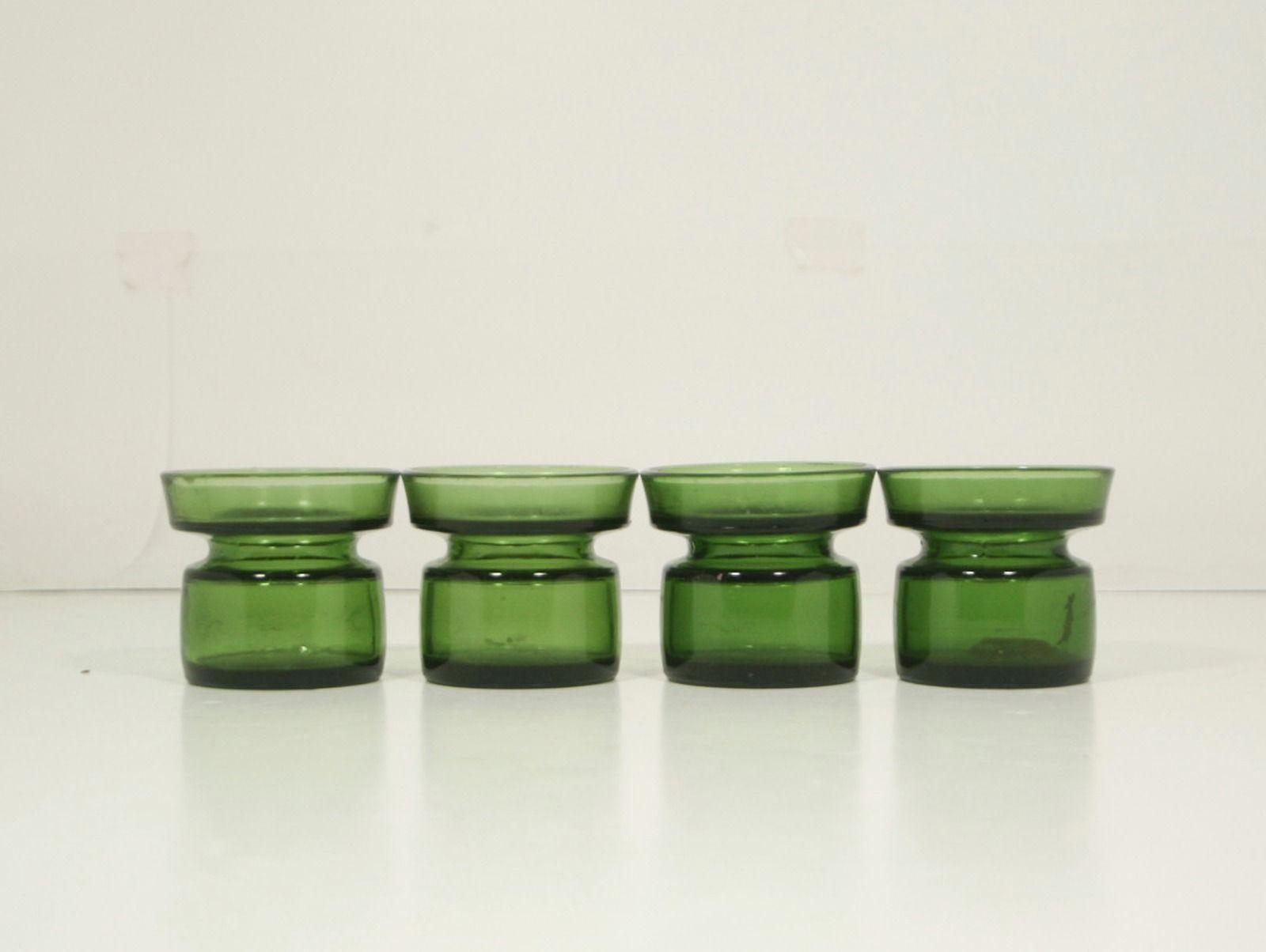 Lot of 4 Dansk Designs Ltd Green Glass Candle Holders Quistgaard - Denmark - $30.40