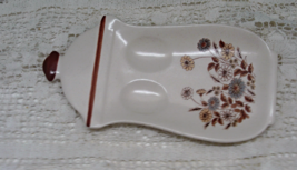 Vintage Stoneware Fall Flowers Design Spoon Rest // Country Kitchen // R... - $12.50