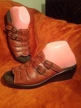 Sas Tango 8M Women's Brown Tripad Comfort Double Buckle Wedge Slide Sandals - $29.69
