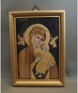 Madonna and Child in Wood Appliqué Framed - $3.99