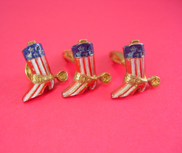 Western Cuff links Patriotic gold flag stripe red white blue Cowboy Boot... - $155.00
