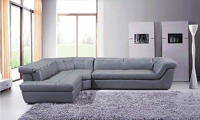 J&M 397 Full Top Grain Italian Leather Sectional Sofa Chic Modern Grey Left