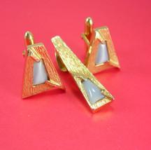 FUTURISTIC Cufflinks tie tack Vintage swank Cufflinks Blue moonstone Spa... - $85.00