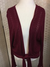 Lane Bryant Woman's 26/28 Shrug Sweater Cranberry Red Glittery Open Fron... - $14.01