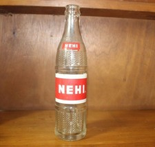Vintage NEHI Beverages Soda Bottle 10 Fluid OZ ounces Clear Glass Red Label - $14.55