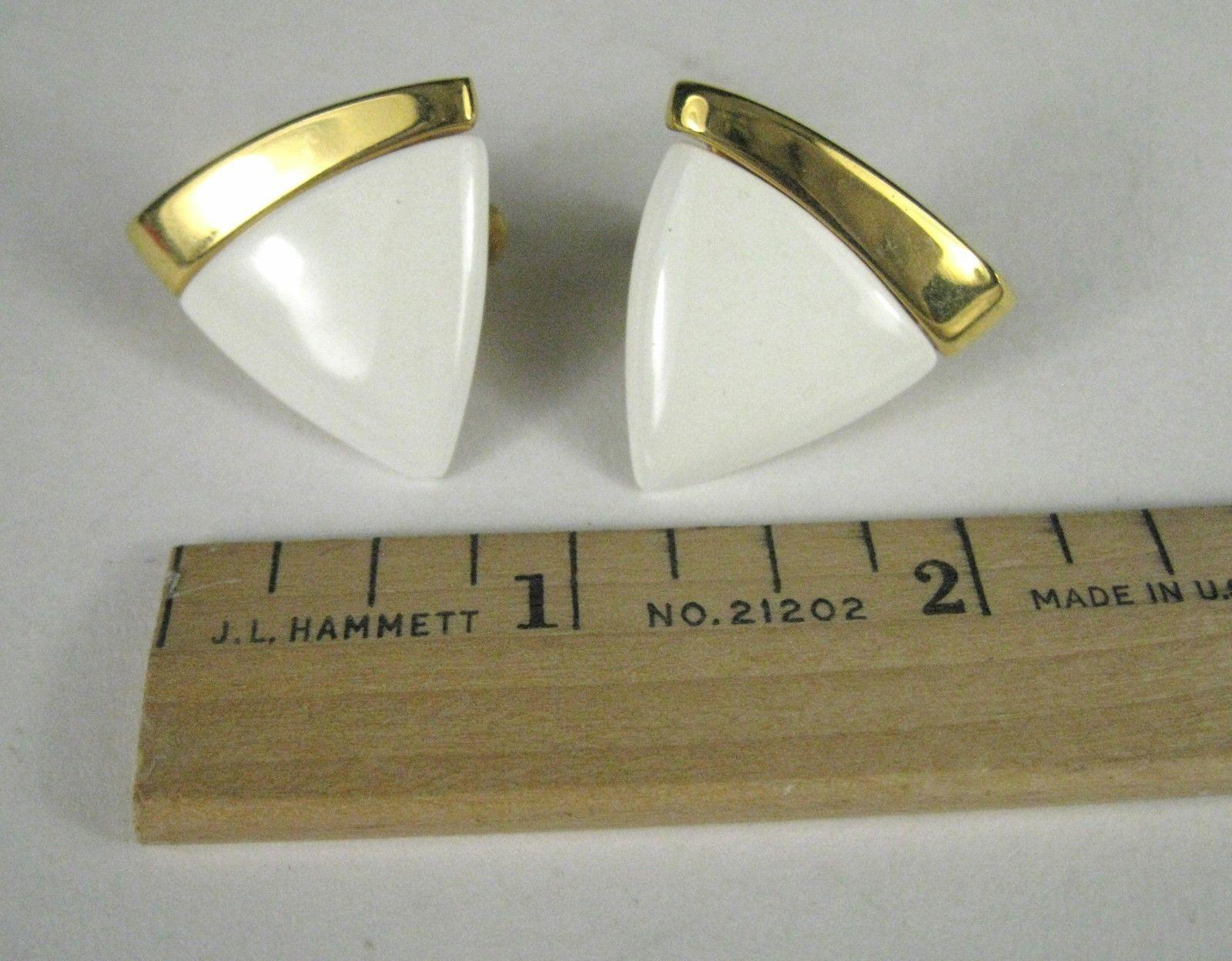 NAPIER Clip Earring Screw Back White Lucite Goldtone Signed VTG Vintage image 6