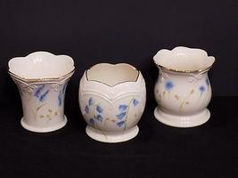 Beautiful Set of 3 LENOX Porcelain Blue Floral Votive Tealight Candle Ho... - $24.26