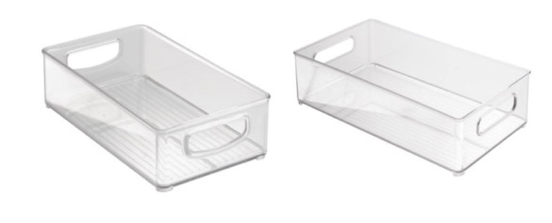 "InterDesign Clear Kitchen Bins, Set of 2 (10"" x 6"" x 3"" and 14.5"" x 4"" x 8"") - $24.99"