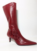 Bronx Burgundy Red Mid Calf Pointed Zip Leather... - $43.37