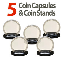 5 Coin Capsules & 5 Coin Stands for JFK HALF DOLLARS Direct Fit Airtight... - $8.95