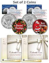 CHRISTMAS / SEASONS GREETINGS / SANTA Kennedy JFK Half Dollar US 2-Coin Set - $10.95
