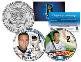 DEREK JETER *Final Season & Captain* JFK Kennedy Half Dollar Colorize 2-... - $12.95