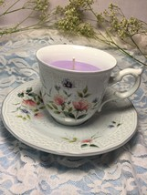 "Mikasa China ""Precious Blue Brooke"" Vintage Tea Cup & Saucer 100% Soy Candle - $23.75"