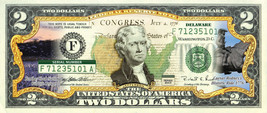DELAWARE State/Park COLORIZED Legal Tender U.S. $2 Bill w/Security Features - $14.95
