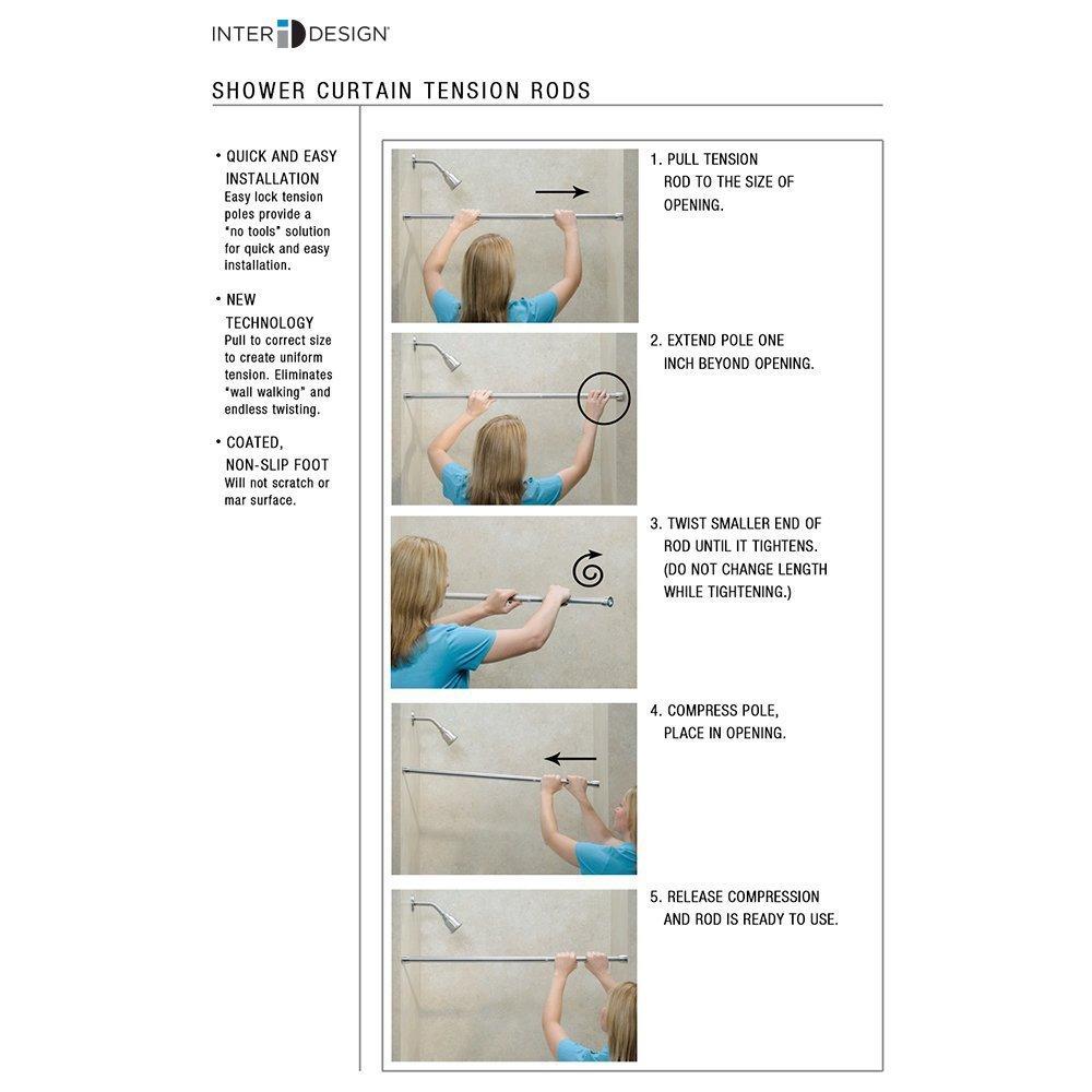 "InterDesign Chrome Shower Curtain Set: Tension Rod (26-42"") & Hooks (Set of 12)"