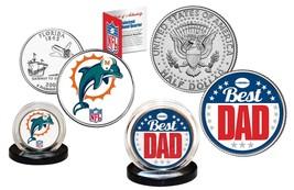 Best Dad - MIAMI DOLPHINS 2-Coin U.S. Set Quarter & JFK Half Dollar NFL ... - $14.95